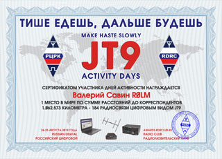 Final results of JT9 Activity Days «Make haste slowly» 2017
